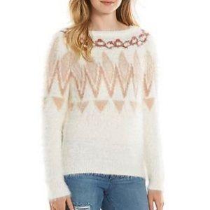 LC Lauren Conrad Fair Isle Eyelash Fuzzy Sweater